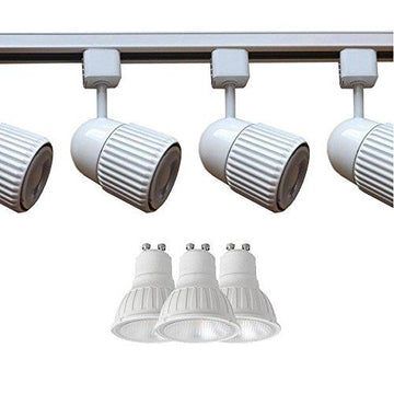 White 1 Metre Megaman Track Lighting Kit - 3 x White Track Spotlights, 3 x Long Life Megaman LED GU10 Warm White (2800k) Bulbs & 1M White Track All Included Perfect Track Lighting Solution For Kitchens, Galleries, Shops, Offices, Walls & Ceilings
