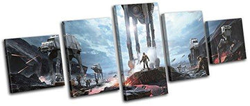 Bold Bloc Design - Star Wars Battlefront AT-AT Gaming 100x40cm MULTI Canvas Art Print Box Framed Picture Wall Hanging - Hand Made In The UK - Framed And Ready To Hang