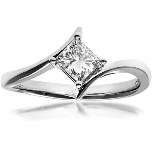 Naava Women's 18 ct White Gold J/I1 Certified Princess Cut 0.50 ct Diamond Crossover Solitaire Engagement Ring, Size M