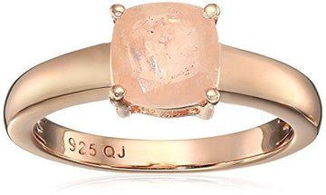 14K Rose Gold Plated 1.26 Carat Genuine Morganite .925 Sterling Silver Ring