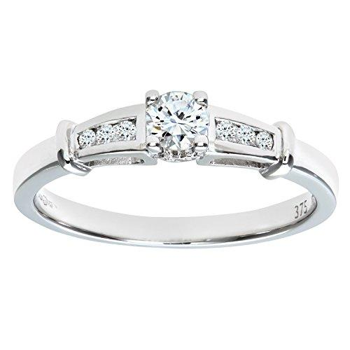 Naava Women's 9 ct White Gold Diamond Engagement Ring With Round Brilliant Diamond Solitaire, With Diamond Set Shoulders, 1/4 ct Diamond Weight