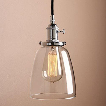 Pathson 14cm Vintage Modern Clear Glass Bell Shade Retro Industrial Edison Hanging Pendant Ceiling Light Fixture Loft Bar Kitchen Island Chandelier E27 (Chrome)