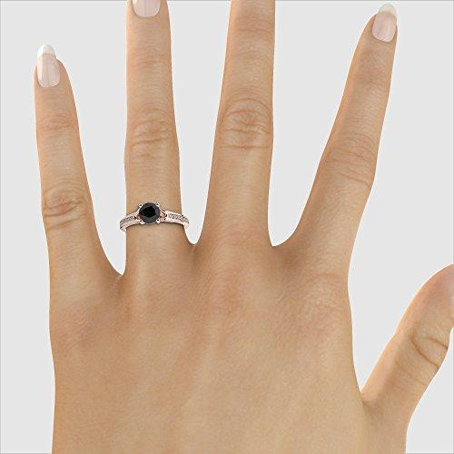 18Kt Rose Gold 1.20 Ct H-I Certified Round Cut Black Diamond Engagement Ring AGDR-2048