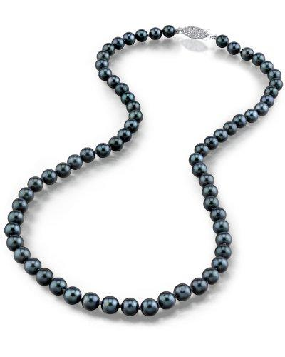 "14K Gold 6.5-7.0mm Japanese Akoya Black Cultured Pearl Necklace - AA+ Quality, 17"" Princess Length"