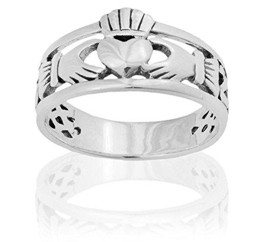 925 Sterling Silver Ring Claddagh Heart Design