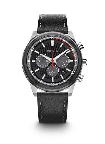 Citizen Watch Men's Solar Powered with Black Dial Analogue Display and Black Leather Strap CA4348-01E