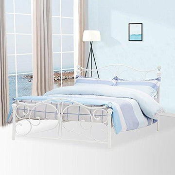 UEnjoy Double White Metal Bed Frame Crystal Finials with Headboard Footboard and Wooden Slat Support (4FT6)