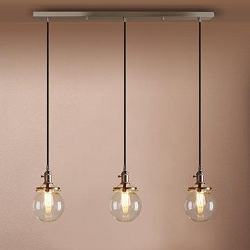 Pathson Industrial Vintage Modern Loft Bar Pendant Light Fittings Cluster Chandelier Edison Hanging Ceiling Lamp Light Fixture 3 Lights with Globe Glass Light Shade E27 (Brushed)