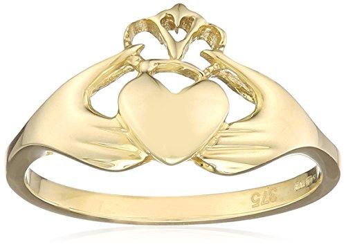 Elements Gold 9ct Yellow Gold Plain Claddagh Ring - Size L