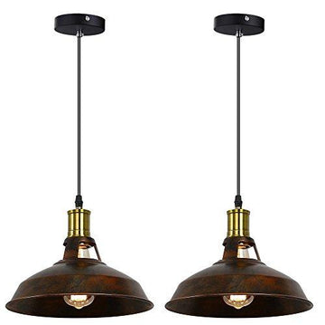 Retro Industrial Pendant Light Black Rust Silver Mental Shape Old Factory Style with Antique Finish (2 Set Rust Shape)