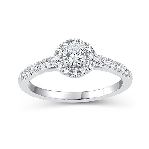 Perfect Love Diamond Collection Women's 18 ct White Gold Round Diamond Halo Ring with Diamond Shoulders, Certified Ideal Cut 0.5 ct