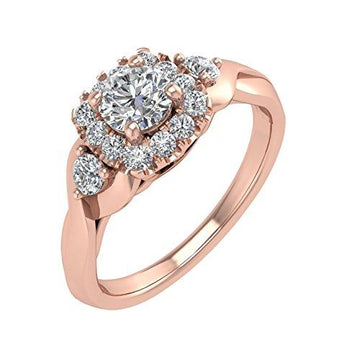 IGI Certified 14K Rose Gold Diamond Engagement Ring Band (0.54 Carat)