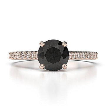 18Kt Rose Gold 1.20 Ct H-I Certified Round Cut Black Diamond Engagement Ring AGDR-1213