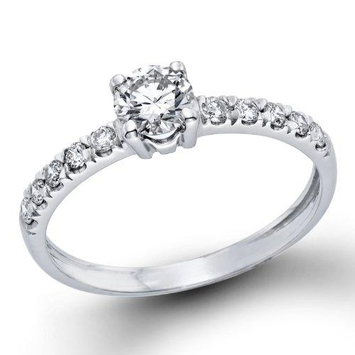 1/2 ctw. Round Diamond Solitaire Engagement Ring in 18k White Gold