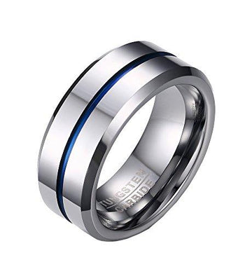 PMTIER Men's 8MM Blue Grooved Tungsten Ring Wedding Band Silver Tone Size W 1/2