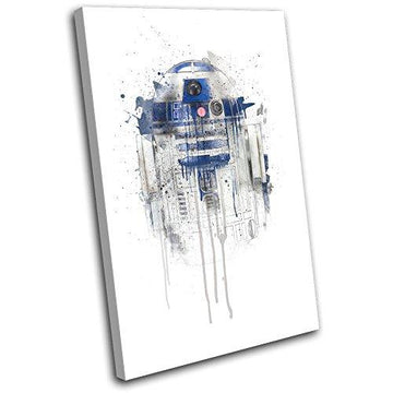 Bold Bloc Design - R2D2 Star Wars Paint Movie Greats 45x30cm SINGLE Canvas Art Print Box Framed Picture Wall Hanging - Hand Made In The UK - Framed And Ready To Hang