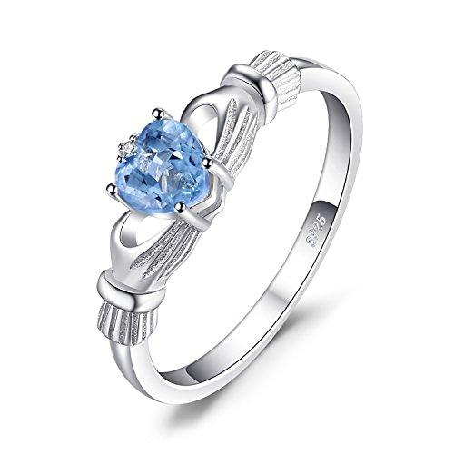 Jewelrypalace Women 0.6ct Heart Genuine Natural Aquamarine Claddagh 925 Sterling Silver Ring 2 Stone Size H