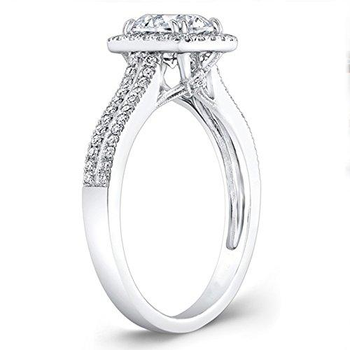 1.55 Ct Round Moissanite Diamond Engagement Ring 925 Sterling Silver White Gold Finish All Size