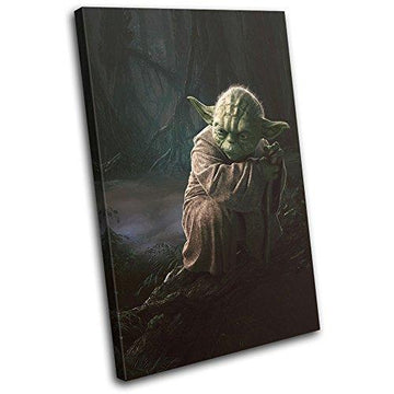 Bold Bloc Design - Star Wars Yoda Movie Greats 60x40cm SINGLE Canvas Art Print Box Framed Picture Wall Hanging - Hand Made In The UK - Framed And Ready To Hang