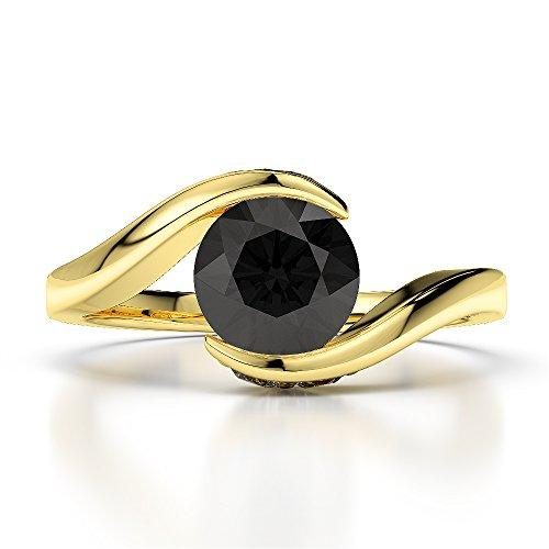 18Kt Yellow Gold 1.20 Ct H-I Certified Round Cut Black Diamond Engagement Ring AGDR-1209