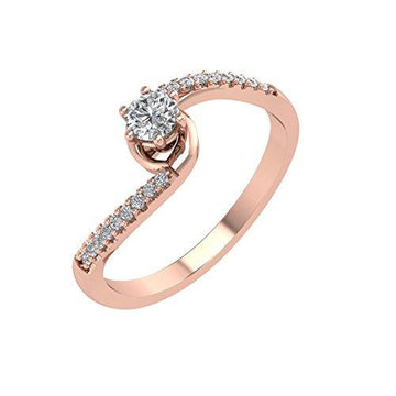 IGI Certified 18K Rose Gold Diamond Engagement Ring Band (0.26 Carat)