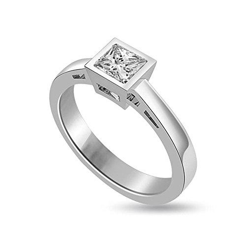0.50ct F/VS1 Solitaire Diamond Engagement Ring for Women with Princess Cut Diamonds in 950 Platinum