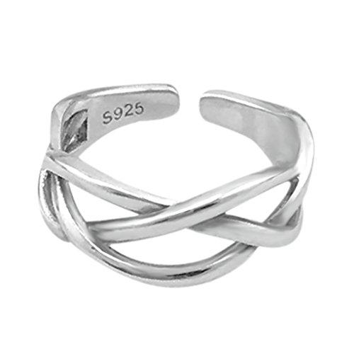 SELOVO 925 Sterling Silver Size J K L M N O P Wide Cross Celtic Knot Adjustable Ring
