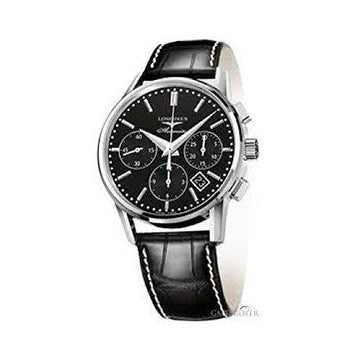 Watch Longines Heritage Collection Automatic l27494520 quandrante Steel Black Leather Strap