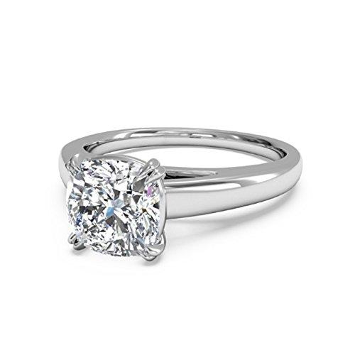 2.00 Ct Cushion Cut Moissanite Diamond Engagement Ring 14K White Gold Size J K L M N O P Q R S T