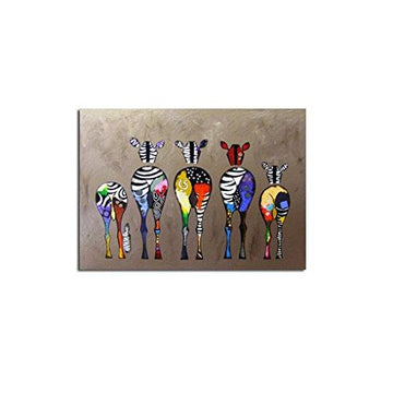 GOTTING Abstract Cartoon Zebra Oil Painting Colorful Wall Decorative Canvas Art Pictures No Framed Oil Drawing Posters