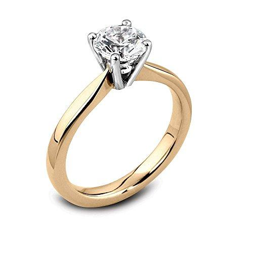 Abelini 1/2 Carat Certified I1/HI 100% Natural Round Diamond Solitaire Engagement Rings for Women In 9K Yellow Gold