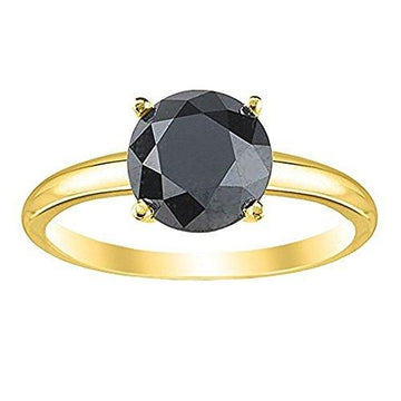 1.00 Carat 4 Claw Rose Cut Black Diamond Solitaire Engagement Ring, 9k Yellow Gold. Size M
