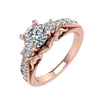 IGI Certified 14K Rose Gold Diamond Engagement Ring (1.34 carat)
