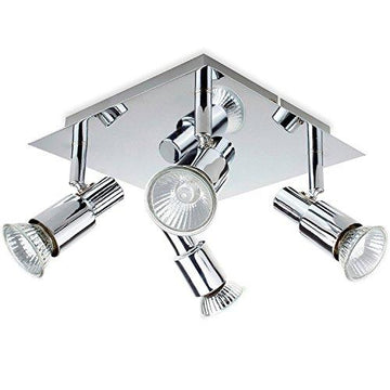 ROMKE Modern Square Silver Chrome 4 Way GU10 Ceiling Spotlight Adjustable Ceiling Kitchen Lights