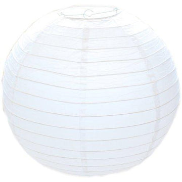 White Round Paper Bamboo Style Ribbed Lampshade 30cm / 12