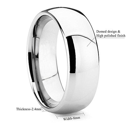 8mm Dome Polished Plain Tungsten Ring Mens Wedding Bands Comfort Fit Size X