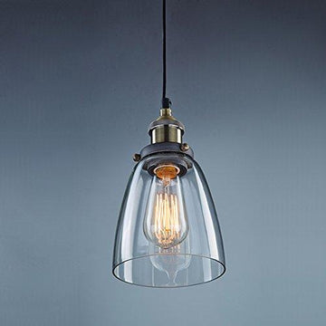 CLAXY Vintage Industrial Ceiling Glass Pendant Light