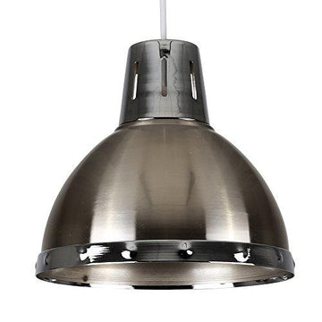 Retro Style Brushed Chrome Metal Domed Ceiling Pendant Light Shade