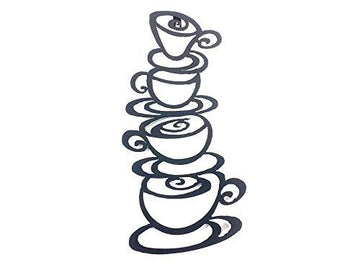New Contemporary Metal Wall Art Picture Or Sculpture – Coffee Tea Cup Tower