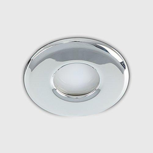 6 x MiniSun Bathroom / Shower / Soffit IP65 Polished Chrome GU10 Recessed Ceiling Downlights - Supplied With 6 x 5W Warm White GU10 LED Bulbs