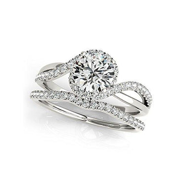 1.30 Ct Round Moissanite Diamond Engagement Ring 14K White Gold Size J K L M N O P Q R S