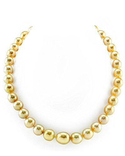 10-13mm Oval-Shaped Golden South Sea Cultured Pearl Necklace