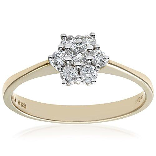 Naava 9 ct Yellow Gold Diamond Cluster Women's Ring