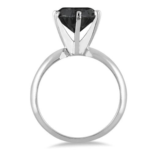 1 1/2 Carat Round Black Diamond Solitaire Ring in 14k White Gold