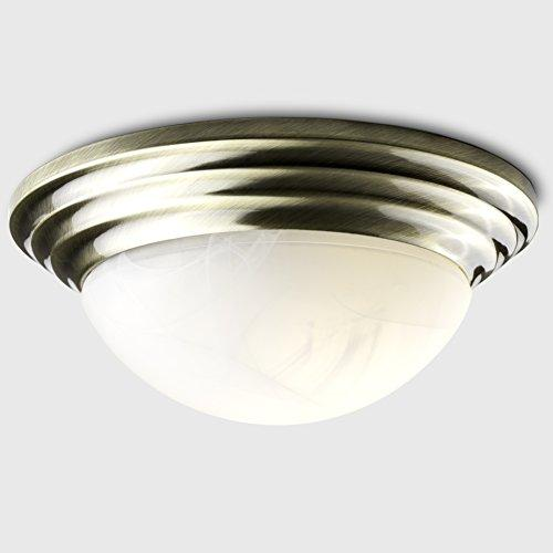 Modern Antique Brass Flush Ceiling Light with a Frosted Glass Shade - Complete with a 4w LED Candle Bulb [3000K Warm White]