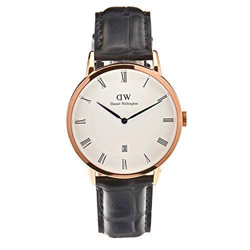 Daniel Wellington Dapper Men Quartz Watch with Analog Display and Black Leather Strap - DW00100107
