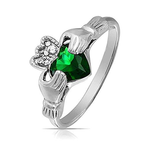 Bling Jewelry Celtic Claddagh Simulated Emerald CZ Sterling Silver Ring