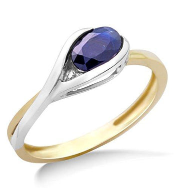 Miore Ladies 9ct Two Tone Gold Sapphire Ring - Size N