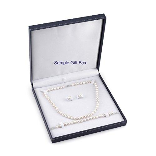 "6.0-6.5mm White Akoya Cultured Pearl Necklace, Bracelet & Earrings Set, 18"" Princess Length - AAA Quality"