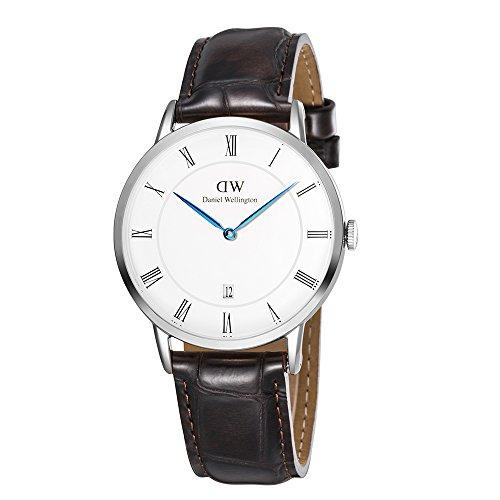 Daniel Wellington Dapper Men Quartz Watch with Analog Display and Brown Leather Strap - DW00100089